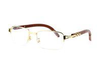 2018 neue Büffelhornbrille Mode Sonnenbrillen für Frauen Holz Brillen Rechteck braun schwarz klare Linsen Halbrahmen Brillen
