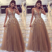 2018 Dress Deep V Neck Appliques Prom Dresses Long Elegant A...