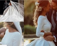 White A Line Wedding Dresses With Long Sleeves Ruched Backle...