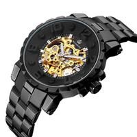 Wengle Yeni ORKINA tam siyah Paslanmaz çelik Hollow Otomatik Serin altını Altında Lüks hediye elbise Mekanik saatler