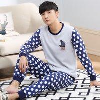 Wholesale polka dots pajama sets online - Spring Autumn Cotton Long Sleeve  Men Sleepwear Masculine Pyjamas ff7903fe0