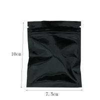 7.5x10cm Bolsas de aluminio de aluminio negro Snack Bolsa de envasado a granel Bolsa de envasado de alimentos Mylar Ole Package Package Zipper Bag 100pcs / lot