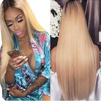 Colle moins Full Lace Perruques de Cheveux Humains Ombre 1B 613 Droite Hairline Naturel Perruques 150 Densité Brésilienne Cheveux Vierges Dentelle Frontale Perruque