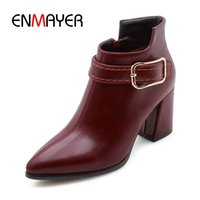 ENMAYER New Fashion women zip ankle lady solid pointed toe s...