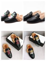 Designer Genuine leather loafers Fur Muller slipper with buc...