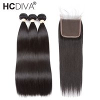 Pre- Colored Peruvian Straight Hair With Closure Remy Human H...