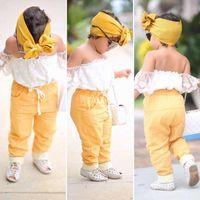 طفل فتاة ملابس الطفل مجموعات بنات صيف معطلة الكتف الأبيض قميص + شورت + سروال كم صفراء + العصابة الاطفال 3 PCS الدعاوى