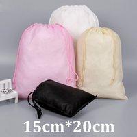 15x20cm poche noire paquet écologique petits sacs en coton bon marché avec cordon de serrage
