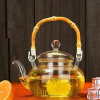 حار جديد drinkware 600 ملليلتر مجموعة الشاي البورسليكات الزجاج مريحة ساخنة مكتب إبريق الشاي وعاء الشاي ساخنة