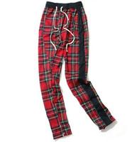 Harem Pants Homens Lado Escocês Xadrez Zíper Pista Sweatpants Bloco de Cor Em Linha Reta Hip Hop Basculadores Streetwear