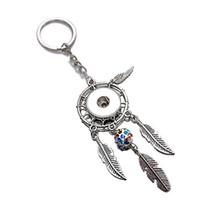 En toptan doğal opal taş dreamcatcher anahtarlık moda gümüş kadınlar için boho takı tüy 18mm snap düğmesi anahtarlık