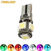 FEELDO 10PCS 웨지 T10 / W5W / 194 / 168 5050 5SMD 5LED 오류 CANBUS 자동차 LED 전구 문 빛 7 색 # 2640