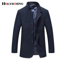 Мужская шерстяная смесь Holyriate Men Card Overcoat Поворотного воротника Паусы Теплый гомбер Шерстяная дышащая куртка мягкая одежда 18441-5