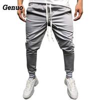 Pantalones para hombres Genuo Hombres Streetwear 2021 Otoño Slim Solid Color Pocket Decoración Pantalones Casual Jogger Sweetpants