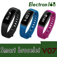 2018 V07 Bluetooth Bracelets Intelligents Pression Artérielle Moniteur De Fréquence Cardiaque Fitness Tracker Smartband Étanche IP67 Bracelet Intelligent VS TW64