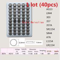 40 قطع 1 وحدة AG13 LR44 303 357 357A SR1154 SR44 A76 L1154 LR1154 1.55 فولت بطاريات زر خلية البطارية القلوية عملة صينية شحن مجاني