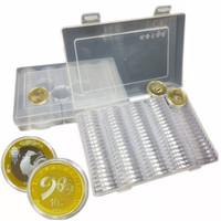 عملة تخزين مربع واضح 27/30 ملليمتر جولة محاصر حامل البلاستيك تخزين كبسولات عرض الحالات المنظم المقتنيات هدايا QW8722