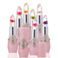 Impermeable Flower LipStick Jelly Flower Cambio de color transparente Lápiz labial Larga duración con 6 colores Lápices labiales Flor Lápiz labial