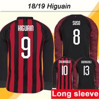 2018 19 Milan HIGUAIN Camisetas de fútbol de manga larga CALHANOGLU SUSO  Inicio Camisetas de fútbol acf253acff910