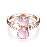 Envío de la gota Rose Gold Color Cute Cat Animal CZ Ross Quartz Crystal Pink Opal Anillos Joyería Al Por Mayor para Mujeres Niñas