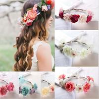 Gelin Tiaras Kadınlar Gül Çiçek Taç Hairband Düğün Flowerr Garland Kafa Festivali Floweer Çelenk Elastik Headbandd Saç Aksesuarları