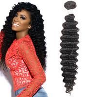 저렴한 10A 그레이드 브라질 깊은 파도 Remy 인간의 머리카락 10 번들 자연 블랙 공장 가격 8-28inch 무료 배송 도매 가격