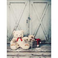 خمر خشبية الباب صورة خلفية الفينيل المطبوعة لعبة الدب سلة الطفل الوليد التصوير الدعائم أطفال الأطفال خلفية أرضية الخشب