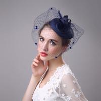 2018 economici eleganti festa nuziale copricapo da sposa cappelli da sposa cappelli da sposa a buon mercato fatto a mano su ordinazione cappello blu marino cappello di lusso