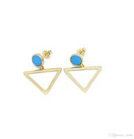 Lyxig ny ankomst silver guld fylld triangel charm rund turkos studs flicka kvinnor klassisk mode smycken örhänge