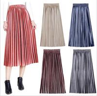 2018 automne et hiver nouveau style taille grand taille haute plissé jupe mi-longue en velours doré or Femme s Vêtements Robes