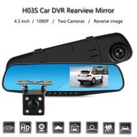 2018 Nouveau FHD 1080 P Voiture DVR Double objectif Voiture caméra rétroviseur Enregistreur Vidéo Dash cam Auto Blackbox Vision Nocturne G-Capteur