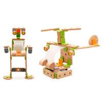 ديي الإبداعية اللبنات خشبية لعبة تجميع هليكوبتر روبوت الحيوانات الطائرة الدراجات الاطفال لغز مونتيسوري الخيال و التدريب العملي على abilit