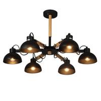 Moderne einfache Pendelleuchten macaron 3/6/8 PCS E27 Lampenfassung Schwarzes / weißes Material Eisen und Holz LED-Droplight für die Schlafzimmerbeleuchtung im Foyer