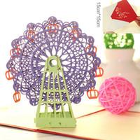Kawaii handgemachtes 3D-Riesenrad Origami 3D-Papier-Laser-Cut-Weinlese-Postkarten-Grußkarten Alles Gute zum Geburtstag Geschenke Kraft Kostenloser Versand