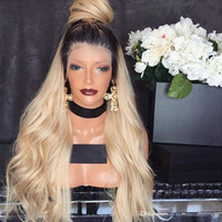 Top Selling Free Part Ombre Wig With Dark Roots Blonde Wig G...