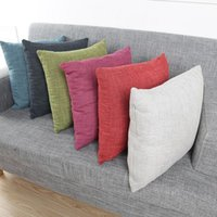 Plain Linen Pillow Case Candy Colors Cushion Covers Car Deco...