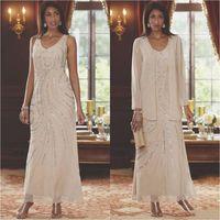 Два куска шампанского шифона мать невесты платья с куртками 2021 длина лодыжки голени блестки с бисером длинные свадьбы гостевые платья PROM вечернее платье