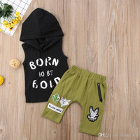 Summer Baby Boys Outfits Hooded Black Tops+ Olive Colour Pant...