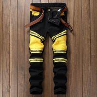 BP Fashion brand Männer Zerrissene Designer Jeans Hosen Slim Fit Knie  Reißverschluss Nähen Jeans Männer Club Tragen Helle Farbe Denim Jogger 4050f5e72a