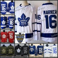 Mens Toronto Maple Leafs 16 Mitchell Marner Weiß Königsblau Home Away Road 2017-2018 genäht Hockey Jersey