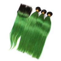 الظلام الظلام 1b حزم أومبير الشعر الماليزي الأخضر مع إغلاق الدانتيل الأخضر أومبير مستقيم الشعر البشري ينسج مع الجزء الأوسط إغلاق الدانتيل