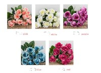 All'ingrosso- Artificiale Falso Rosa Fiori di seta 15 Testa di fiore Foglia Home Wedding Party Garden Nuziale Ortensia Decor FAI DA TE
