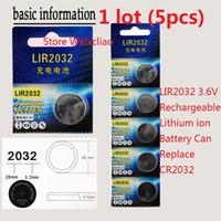 5 stücke 1 los LIR2032 3,6 V Lithium li ionen wiederaufladbare knopfzelle 2032 3,6 Volt li-ion münze batterien CR2032 karte Kostenloser Versand