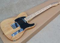 الشحن مجانا لون الخشب الطبيعي الرماد الجسم tl الغيتار الكهربائي مع الفريتس القيقب ، يمكن تغيير اللون / الخشب