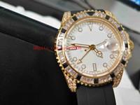 럭셔리 최고 품질 손목 시계 40mm GMT 116758 SARU-78208 다이아몬드 베젤 고무 스트랩 18K 로즈 골드 아시아 기계 자동 망 시계
