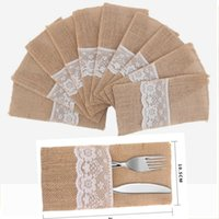 Natural Burlap Lace Silverware Napkin Holder Knife Fork Cutl...