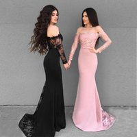 Off The Shoulder Mermaid Prom Dresses Long Sleeves Lace Sati...