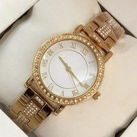 2018 New popular Women Wristwatch With diamond Gold Steel Br...
