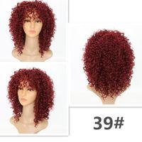 Pelucas rizadas rizadas para mujeres negras Color de cabello sintético # 39 Peluca afro roja larga y negra 16 pulgadas