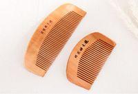Escovas de cabelo personalizado logotipo natural pêssego pente de madeira fechar dentes anti-estáticos massagem cuidado cuidado a397